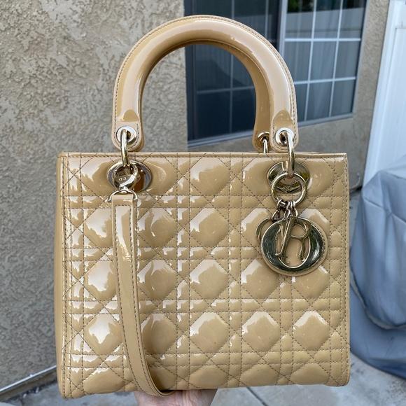 Dior Handbags - PATENT LEATHER CANNAGE LADY DIOR MEDIUM BEIGE